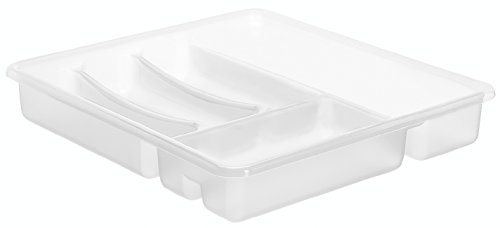 Rotho Besteckkasten BASIC 6 Fächer, Schubladeneinsatz für Besteck aus Kunststoff (PP) transparent, Besteckeinsatz für Schubladen ab 40 cm Breite, ca. 39 x 32 x 5 cm (Aufbewahrungsboxen Besteck)