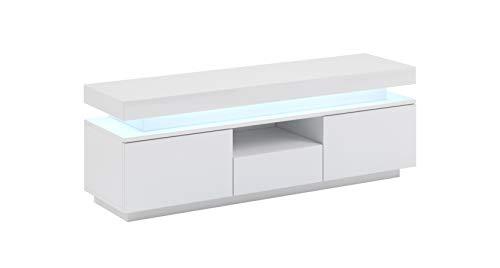 Mueble TV Persis (130cm) Blanco Lacado Alto Brillo Entero con LED RGB