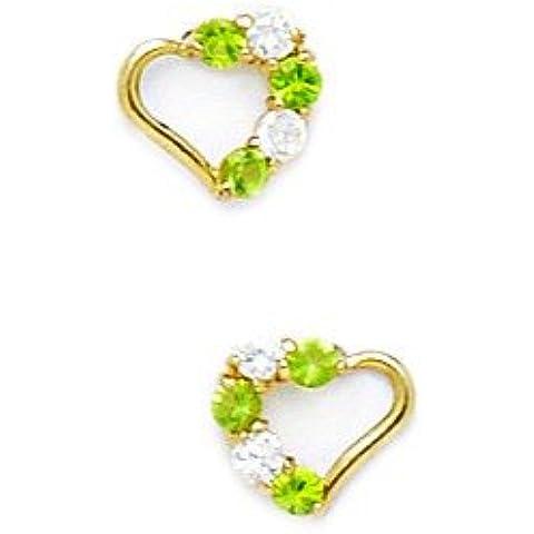 Oro giallo 14 k con zirconi, con pietra zodiacale del mese di agosto Screwback-Orecchini a forma di cuore, colore verde, dimensioni: 7 x 8 mm,
