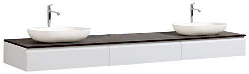 #Badmöbel Vision 2250 Weiß matt – Aufsatzwaschbecken optional, Zusätzl. Blende für Ablaufgarnitur:ohne zusätzl. Blende, Auswahl Waschbecken:Ohne Waschbecken#