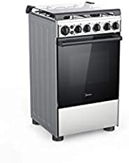 Midea 50X55 cm, 4 Burners Gas Cooker with Full Safety and Cast Iron Pan support, Silver - BME55007FFD, 1 Year