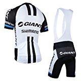 elegantstunning Outdoor Sports Pro Herren Team Short Sleeve Giant Shimano Radfahren Jersey und Bib Shorts Set-Large -