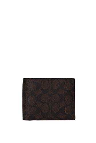 COACH Mens Signature C Compact ID Wallet Brown Size: One size