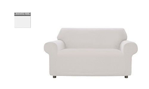 Copridivano genius tinta unita, per divano 2 posti, colore bianco 1000