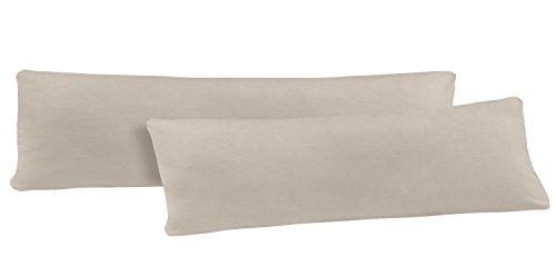 NatureMark Doppelpack Jersey Kissenbezug Gr. 40 x 145 cm für Seitenschläferkissen Kissenbezüge in 14, 100% Baumwolle (Sand/Beige)