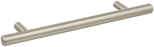 AmazonBasics - Tirador de armario en forma de barra, tipo europeo (1,27 cm de diámetro), 18,74 cm de longitud (centro del orificio de 12,7 cm), Níquel satinado, Paquete de 25