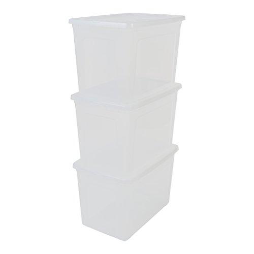 IRIS, 3er-Set Aufbewahrungsboxen / Kisten mit Deckel / Stapelboxen \'Modular Clear Box\', MCB-70, Kunststoff, transparent, 70 L, 59,5 x 39,5 x 38,5 cm