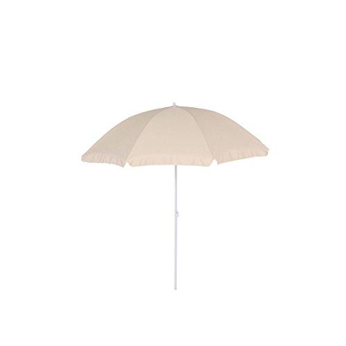 greemotion Sonnenschirm 2m mit UV-Schutz - Balkonschirm in Beige-Weiß - Gartenschirm knickbar - Terrassenschirm rund - Outdoor-Schirm für Balkon, Terrasse & Garten