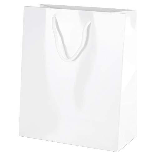 Thepaperbagstore 10 Weiß Medium Luxus Gloss Seilgriff Papiertüten 200x100x240mm - Wählen Sie Ihre Größe und Menge -