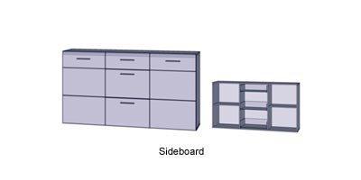 Sideboard in Sandeiche-NB und weiß, mit 2 Türen, 3 Schubkästen und 2 Einlegeböden, Maße: B/H/T ca. 179,6/100,9/41 cm - 2