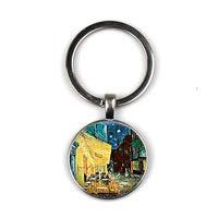 Van Gogh Cafe Terrace Art Schlüsselanhänger Art Glas Cabochon Schmuck Bistro Restauranteur's Geschenk Lange Kette Ms. Bag Craft Schlüsselanhänger -