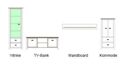 Anbauwand in weiß mit Applikation in San Remo-Eiche-NB, bestehend aus: Vitrine, TV-Bank, Kommode und Wandboard, Gesamtmaße: B/H/T ca. 280/193/36-43 cm - 5