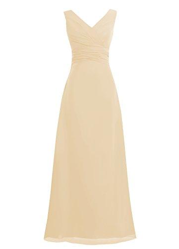 Dresstells, Robe de soirée sans manches col en V, robe de cérémonie, robe longue de demoiselle d'honneur Champagne