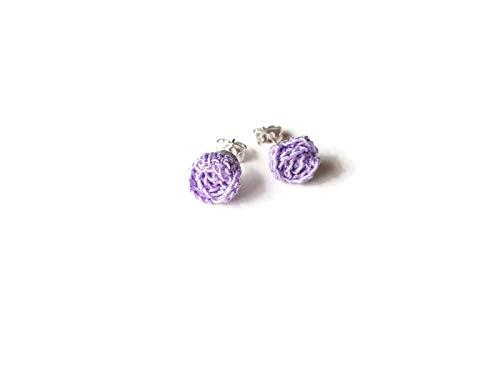 Pendientes morados rosas studs joyería flor regalo para su crochet hecho a mano violeta naturaleza