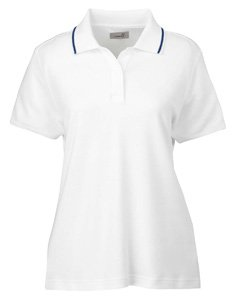 Ashworth 1149 C Damen Performance Wicking-Mischgewebe Polo, Mädchen, White/Blue/Navy, Medium - Ashworth Damen Kleidung