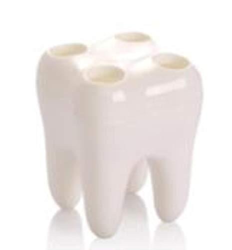 OGAWOO 1 STÜCK Zähne Stil Zahnbürste Rack Multifunktionszahn Zahn Modelling Container Zahnbürstenhalter Bad-Accessoires, Milch weiß - Trocken-milch-bad