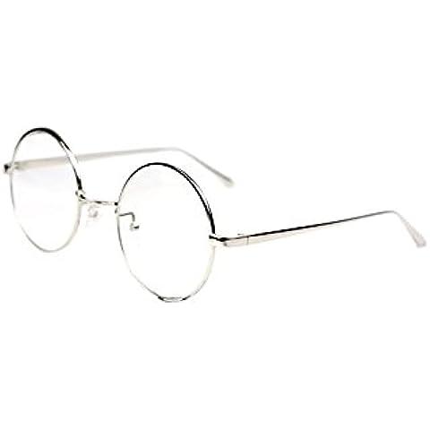 Vococal - Montatura Occhiali da Vista Occhio Frame Struttura a Forma Rotonda Vetri Ottici Pianura Occhiali con Lenti Trasparenti (Stile Classico,Donna Uomo Unisex)