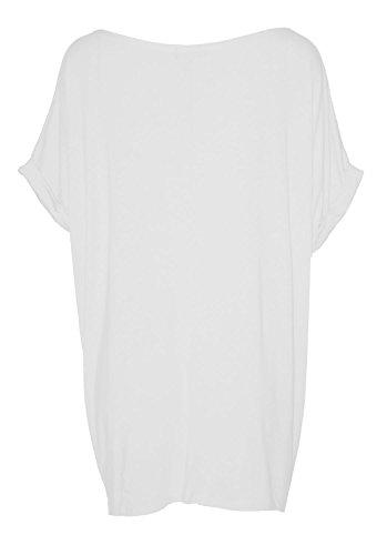 Fast Fashion - Top Batwing V Plaine Cou Bouffant T-Shirt Oversize - Femmes Blanc