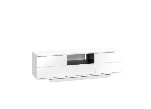Möbel 7706 5647 Lowboard, weiß Hochglanz - schwarz Hochglanz, Abmessungen BxHxT: 150 x 46 x 40 cm