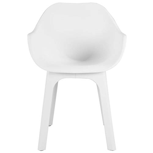 Festnight 3-TLG. Bistro-Set | Kunststoff Balkon-Set | Plastik Terassen Set | Balkongarnitur | Gartenmöbel Set | Weiß Kunststoff 70 x 70 x 71,7/55 x 50,5 x 81 cm
