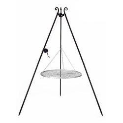 Dreibeingrill Höhe 192cm mit Kurbel und Edelstahlrost Durchmesser 50cm