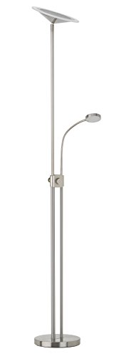 Briloner Leuchten LED Stehleuchte, Stehlampe, Fluter 1 x 17,5 W, 1600 lm,inkl. Drehdimmer, stufenlos dimmbar, Kind 1 x 3,5 W, 310 lm, inkl. Schalter AN/AUS, flexibel, matt-nickel, 1307-022