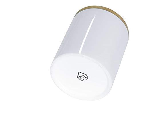 77L Vorratsdose, 300ML (10.13 FL OZ), Keramik Vorratsdose mit Luftdichtem Verschluss Bambusdeckel - Modernes Design Weißer Vorratsbehälter aus Keramik zum Servieren von Tee, Kaffee, Gewürz und mehr