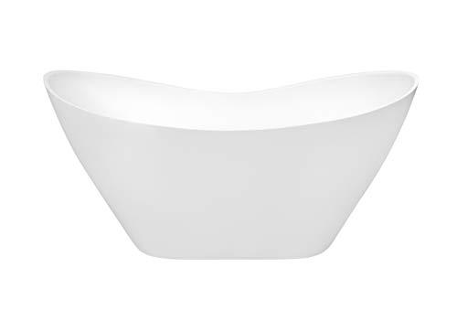 EXCLUSIVE LINE® Freistehende Badewanne VIYA 160x70 cm Ovale Standbadewanne Mineralguss weiß