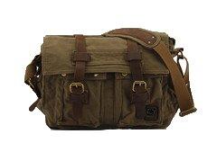 Wolu Vintage Military Mann-Segeltuch -Leder-Kurier-Beutel-Spielraum-Umhängetasche Passend für 15-Zoll-Laptop Army Green