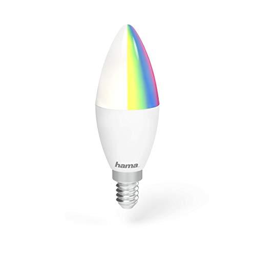 Hama E14 Wi-Fi LED-Lampe, Kerzenform, 4,5W, ohne Hub, dimmbar, gesteuert via Alexa/Google Home/App/IFTTT, 2,4GHz, warmweiß/RGB, WLAN Lampe, Echo/Echo Dot/Echo Spot/Echo Plus/Echo Show kompatibel