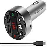 Bluetooth FM Transmitter, ELZO Auto KFZ Radio Bluetooth Adapter Freisprecheinrichtung mit Mikrofon, Dual USB Ladegerät 5V/2.4A, LED Anzeige, Unterstützt USB- Stick für iOS und Android Geräte (Silber)