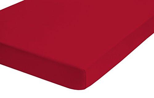 biberna 0065600 Baumwoll-Satin Spannbetttücher, 180 x 200 cm, rot (Baumwoll-satin-decke)
