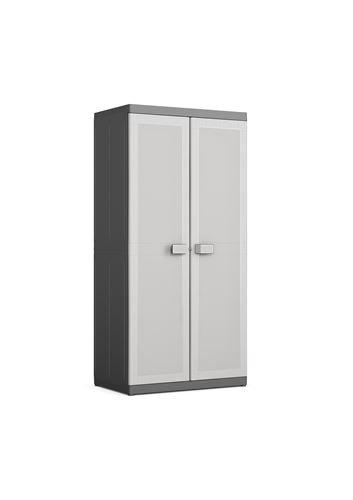 Kis 9690000 0270 01 Armoire Range-Balais Logico XL Noir-Gris Clair, Plastique, 89 x 54 x 182 cm