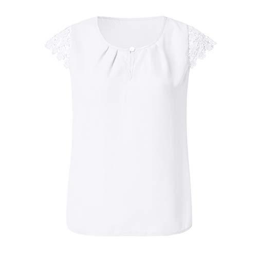 LIGHTBLUE Damen Kurzarm Sommer Tops Rundhalsausschnitt Rüschen Spitze Bluse T-Shirt, weiß, L -
