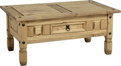 Corona Table basse avec 1 tiroir en bois massif finition pin ciré style mexicain