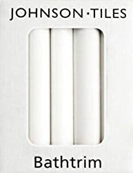 White Gloss Tile 6ft x 23mm (1.8m), Ceramic White Bathtrims / Quadrant Sets Tiles, Per Pack