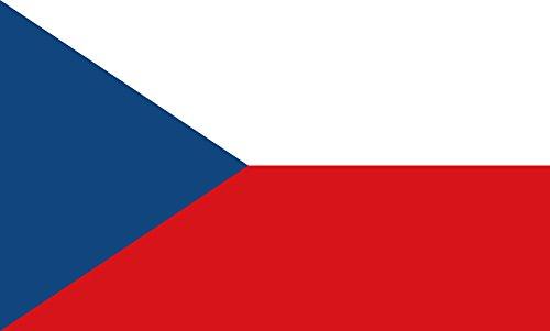 Diplomat magFlags Raum-Fahne mit modernem verchromtem Fahnenständer und Marmor-Fuß | Flagge: Tschechien (Tschechische Republik) 90x150cm | Höhe: 230cm -