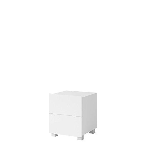 Mirjan24  Nachttisch Calabrini BR06 mit 2 Schubladen, Nachtschrank, Nachtkonsole, Nachtkommode, Schlafzimmerkommode, Beistelltisch, Schlafzimmer Set (Weiß/Weiß Hochglanz)