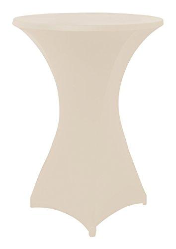 Stretchhussen für Stehtische und Bistrotische in beige, Überwurfhusse für einen Tischdurchmesser von 80 - 85 cm, Stehtischhussen, Outdoor-Tischdecken by Floyen Home