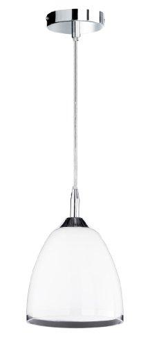 Honsel Leuchten Pendelleuchte chrom, Glas weiß glänzend, Rand klar 63741