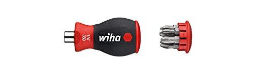 """Wiha Magazin-Bithalter Stubby 3801-02 / Mini Schraubendreher mit 6 Bits im Griff / Schraubenzieher magnetisch mit Phillips und Pozidriv Bits / 1/4\"""""""
