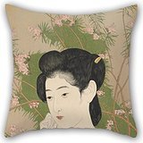 Inches / 50 By 50 Cm Oil Painting Hashiguchi Goyo - Woman At A Hot Spring Hotel Throw Cushion Covers ,twin Sides Ornament And Gift To Teens,wife,dance Room,teens,kids Boys,bedroo ()