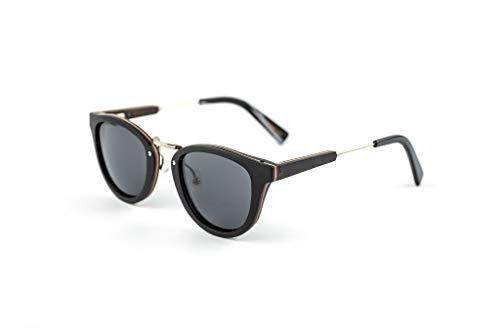 Classic Holz Sonnenbrille aus Edelstahl und dunklem Skateboard-Holz - Polarisiert UV400 - TAC Brillengläser