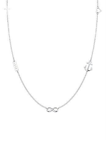 Elli Damen-Kette mit Anhänger Love, Kreuz, Anker, Herz, Infinity 925 Silber 40 cm - 0111340416_40 - Kreuz Anhänger Halskette Silber