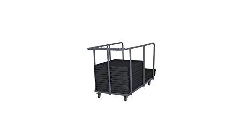Rekkem 18 Tables Pliantes Noires 180 cm et Chariot de Transport