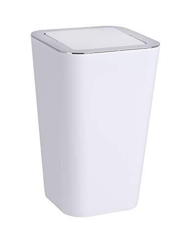 WENKO Schwingdeckeleimer Candy, Abfallbehälter mit Schwingdeckel Fassungsvermögen: 6 l, 18 x 28.5 x 18 cm, weiß