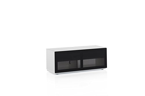 Accord Sonorous ST110T Glass and Wood Ready Assembled Cabinet with Textured Speaker Fabric for TV Upto 50-Inch - White Black