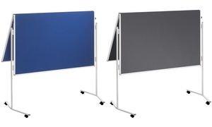 FRANKEN Moderationstafel ECO, 2x 750 x 1.200 mm, Filz, blau -