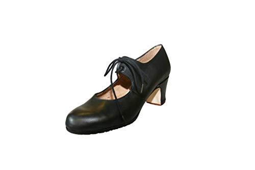 Menkes Zapato Flamenco Modelo Debutante Sevilla Piel con Clavos para Mujer Talla 38 Negro