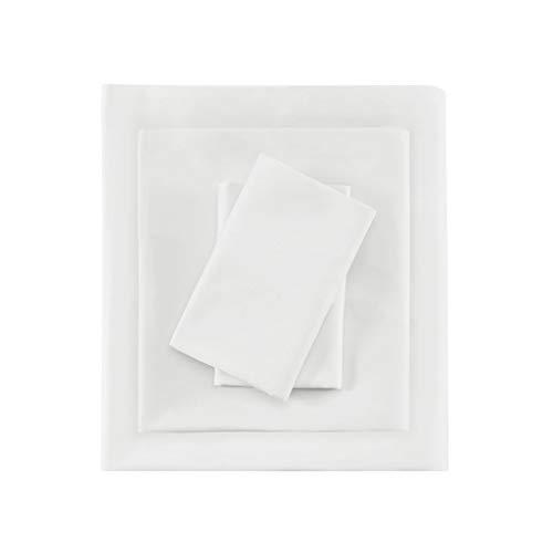 Madison Park Premier Komfort Fadenzahl 600Pima-Baumwolle Satin-Bettlaken-Set, Queen, weiß -